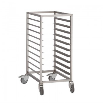 Gastro-M 10 Rack Stainless Steel Racking Trolley 1/1 GN