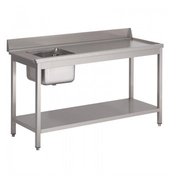 Gastro M rvs pre-rinse table with upstand, 140 (b)x70(d)x85(h)cm, at the right side of the dishwasher