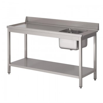Gastro M rvs pre-rinse table with upstand, 140 (b)x70(d)x85(h)cm, at the left side of the dishwasher