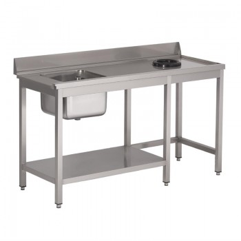 Gastro M rvs pre-rinse table with upstand, 100 (b)x70(d)x85(h)cm, at the right side of the dishwasher