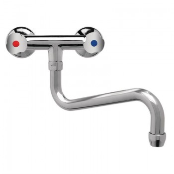 Wall Two-Hole Heavy Duty Mixer with Multiple Turn Knobs and Lower Spout 300mm