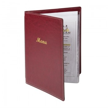 Olympia Faux Leather Menu Cover A4 Burgundy