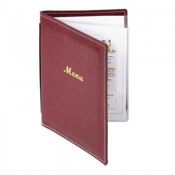 Olympia Faux Leather Menu Cover A5 Burgundy