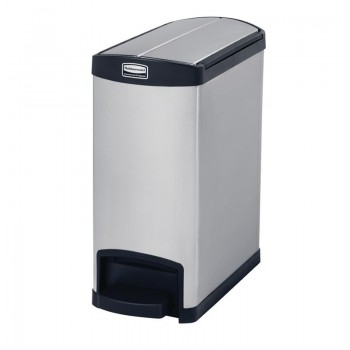 Rubbermaid Slim Jim End Step on Pedal Bin Stainless Steel 30Ltr