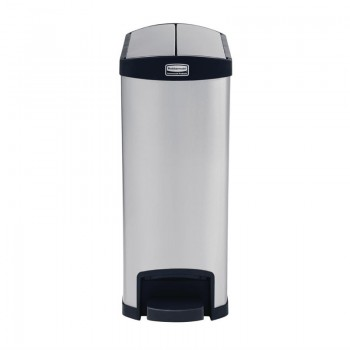 Rubbermaid Slim Jim End Step on Pedal Bin Stainless Steel 50Ltr