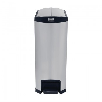 Rubbermaid Slim Jim End Step on Pedal Bin Stainless Steel 90Ltr