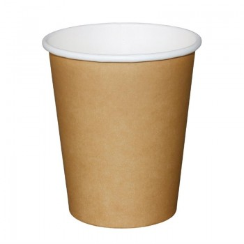 Fiesta Single Wall Takeaway Coffee Cups Kraft 225ml / 8oz x 50