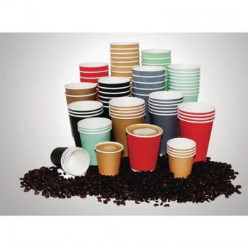 Fiesta Single Wall Takeaway Coffee Cups Kraft 340ml / 12oz x 50