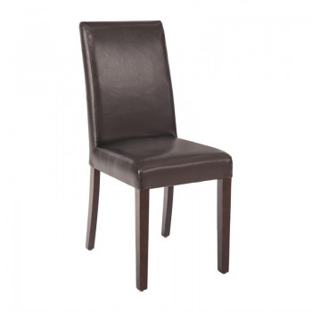 Bolero Faux Leather Dining Chairs Brown (Pack of 2)