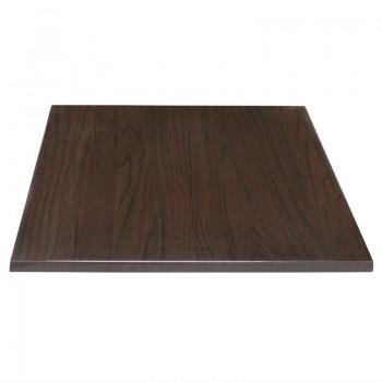 Bolero Pre-drilled Square Table Top Dark Brown 600mm