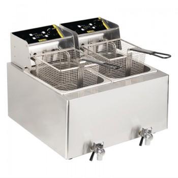 Buffalo Twin Tank Twin Basket Countertop Electric Fryer 2x3kW