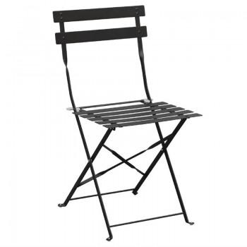 Bolero Black Pavement Style Steel Folding Chairs (Pack of 2)