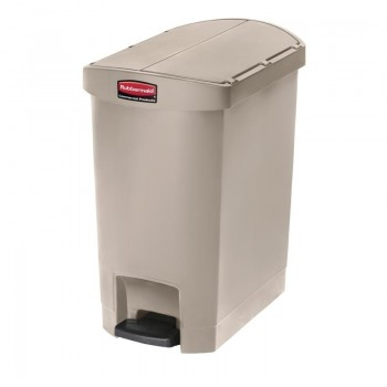 Rubbermaid Slim Jim End Step on Pedal Bin Beige 30Ltr