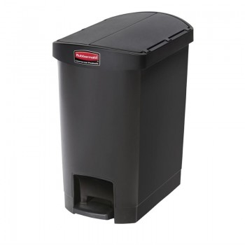 Rubbermaid Slim Jim End Step on Pedal Bin Black 30Ltr