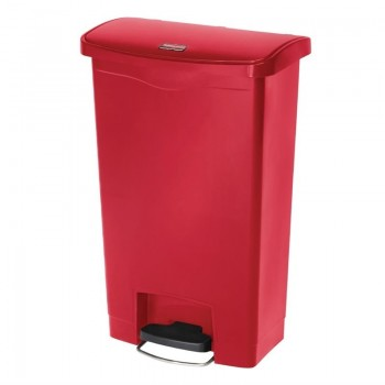 Rubbermaid Slim Jim Step on Front Pedal Red 50Ltr