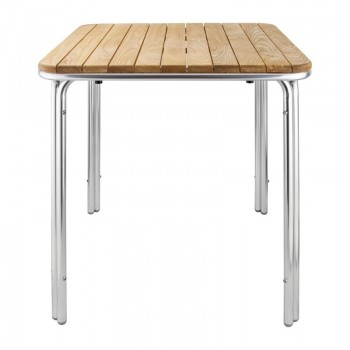 Bolero Square Ash and Aluminium Table 700mm