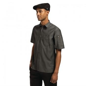 Chef Works Unisex Detroit Denim Short Sleeve Shirt Black L