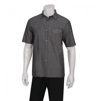 Chef Works Unisex Detroit Denim Short Sleeve Shirt Black M