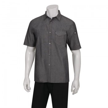 Chef Works Unisex Detroit Denim Short Sleeve Shirt Black S