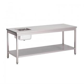Gastro-M S/S cheftable with undershelf 1800x700x850mm
