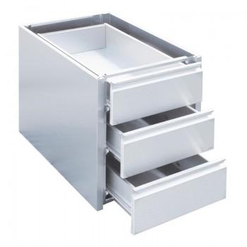 Gastro-M RVS ladenblok met 3 laden voor onderbouw 450x580x550mm