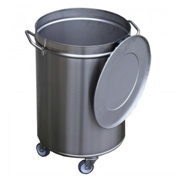 S/S Disposalbin 100 liter, movable and with cover
