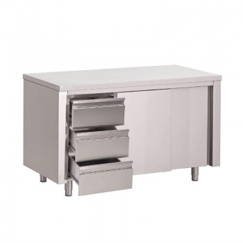 Gastro-M S/S working table with sliding doors and 3 drawers LEFT 1400x700x850mm