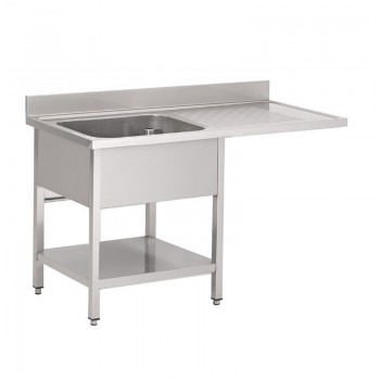 Gastro-M S/S sink with undershelf, rear upstand and washmachine place