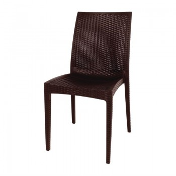 Bolero Brown PP Rattan Bistro Side Chairs (Pack of 4)