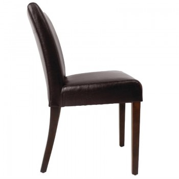 Bolero Faux Leather Contemporary Dining Chair Dark Brown (Pack of 2)