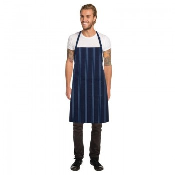Chef Works Presidio Navy Satin Stripe Bib Apron