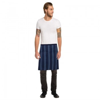 Chef Works Urban Presidio Navy Satin Stripe Half Bistro Apron