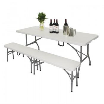 Bolero Rectangular Centre Folding Table 6ft White