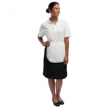 Whites Waitress Apron  With Trim