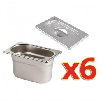 Vogue Gastronorm Pan Set with Lids 6 x 1/9
