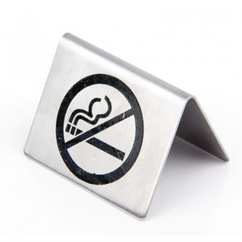 Brushed Steel No Smoking Table Sign