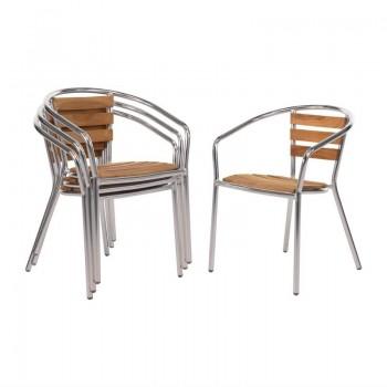 Bolero Aluminium and Ash Chairs (Pack of 4)