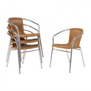 Bolero Aluminium and Natural Wicker Chair (Pack of 4)