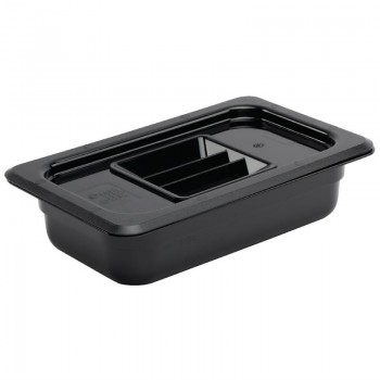 Vogue Polycarbonate 1/4 Gastronorm Container 65mm Black