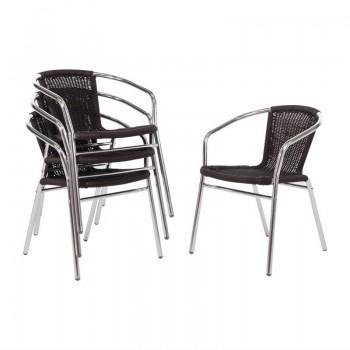 Bolero Aluminium and Black Wicker Chairs Black (Pack of 4)