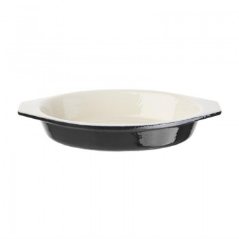 Vogue Black Cast Iron Oval Gratin Dish 650ml