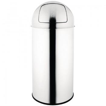 Bolero Stainless Steel Push Top Bullet Bin Silver 40Ltr