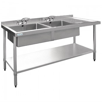 Vogue Stainless Steel Double Sink with Right Hand Drainer 1800mm