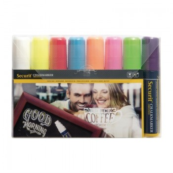 Set of 8 Securit Chalkmaster 15mm Liquid Chalk Pens Assorted Colours
