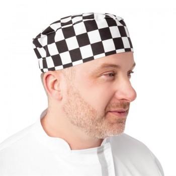 Whites Chefs Skull Cap Big Black and White Check