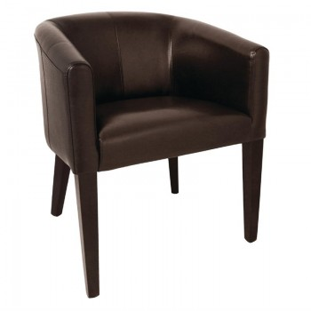 Bolero Dark Brown PU Leather Tub Armchair