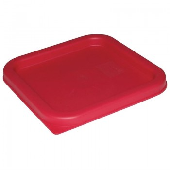 Vogue Square Food Storage Container Lid Red Medium