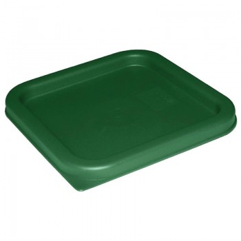 Vogue Polycarbonate Square Food Storage Container Lid Green Large
