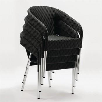 Bolero Wicker Wraparound Bistro Chairs (Pack of 4)
