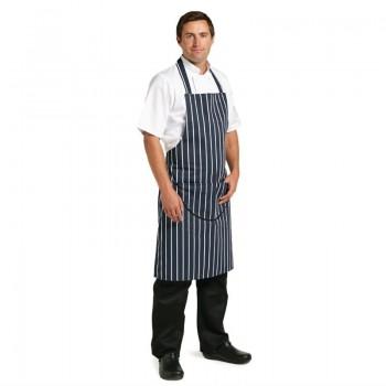 Whites Butchers Apron   Navy Stripe with Pocket